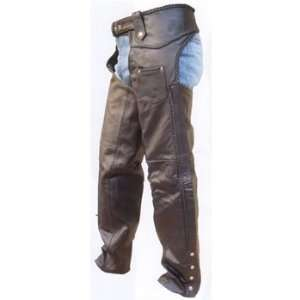 Mens heavy duty Cowhide Leather Braided Motorcycle Chaps