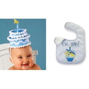 Party Time Boys First Birthday Cake Headband and Cupcake