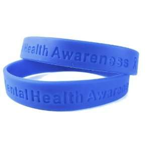 Mental Health Awareness Blue Rubber Bracelet Wristband