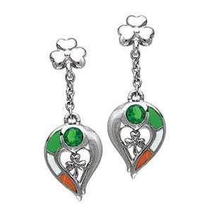 St Patricks Day Earrings, Sterling Silver, Irish Flag