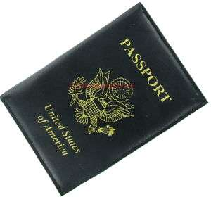 Black Fine Leather Passport ID Credit Card Holder Case
