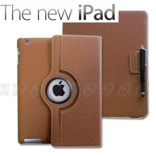 New iPad 3 360 Rotating Leather Case Smart Cover w/Stylus Apple iPad 2