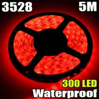 Red 5M Waterproof 300 LED 3528 SMD Flexible LED Light Lamp Strip Car