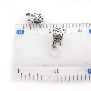 50x Sliver Plated Bird Charms Beads Fit Bracelet 8A0143