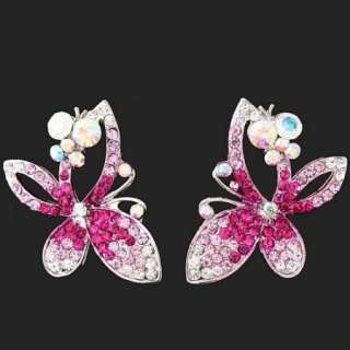 ARINNA Swarovski Crystals fuchsia Butterfly Earrings