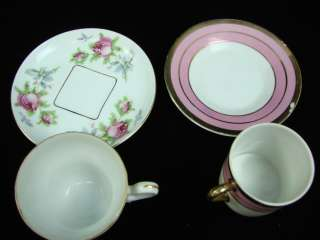 LOT 11 Vintage Mixed Vintage Tea Cup & Saucer Gold Paint Royal Sealy