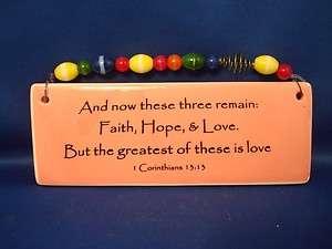 Love Bible Verse Ceramic Plaque Wall Art Hanging I Corinthians 13.13