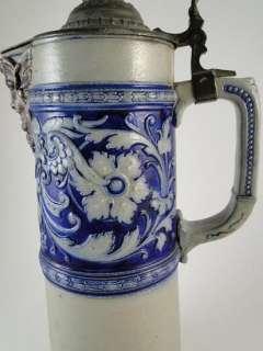 Antique Simon Gerz German Art Pottery Beer Stein Tankard Angel Salt