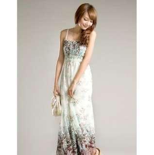 WHITE LONG BEACH DRESS W/ MINI FLOWER PRINTS