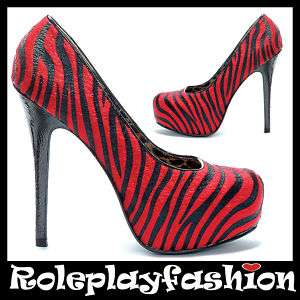 ELLIE SHOES BETTIE PAGE SEXY PLATFORM RED ZEBRA PRINT PUMPS HEELS