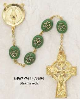 Gold Shamrock Rosary Irish Celtic Religious Necklace