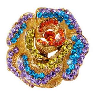 Big Flower Brooch Pin 46*48MM 6Colors Gold Plating Full Czech