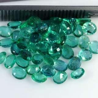 Natural Top Green Emerald Gemstone Oval Cut Lot Zambia Unheated 5x3 mm
