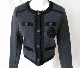 HAUTE HIPPIE Skull Crest Gray Military Jacket Blazer Sz. S