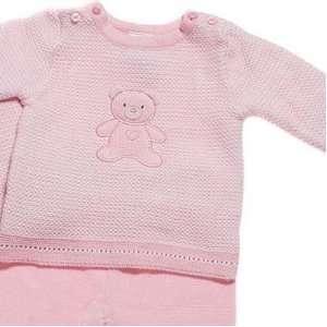 Absorba Baby Pink Sweater Teddy Bear 2pc Footie Set Infant Girl Size 0