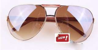 mens GOLD big Aviator Full Mirror Sunglasses WOOD 8085