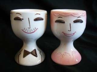 VTG NAPCO ANTHROPOMORPHIC MAN LADY BOY GIRL EGG CUPS