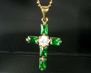CROSS CUT GREEN EMERALD YELLOW GOLD GP PENDANT NECKLACE