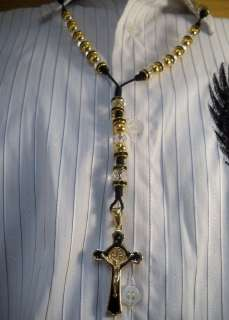 14k GOLD PLATED & crystal ROSARIO ROSARY NECKLACE