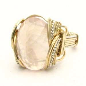 Wire Wrap Rose Quartz Two Tone Silver / 14kt GF Ring