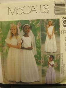 MCCALLS PATTERN GIRLS FIRST COMMUNION DRESS 3586 CHOICE