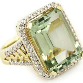 10.45ct GREEN AMETHYST & DIAMOND 14K YELLOW GOLD COCKTAIL RING VINTAGE