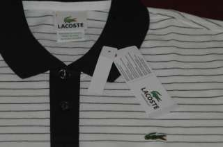 Lacoste Polo Classic Pique Shirt WHITE/BLUE STRIPES Size 7 Extra Large