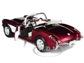 1957 CHEVROLET CORVETTE BURGUNDY 1/24 DIECAST CAR MODEL BY ROAD
