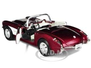 1957 CHEVROLET CORVETTE BURGUNDY 1/24 DIECAST CAR MODEL BY ROAD