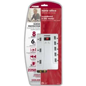Prime Wire & Cable PB504120 8 Outlet 5+3 2250J with RJ11, Coax and 6