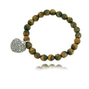 Marcasite Faceted Tigers Eye and Heart Stretch Bracelet, 8 Jewelry