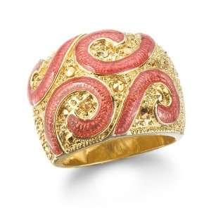 MARCASITE SWIRL RING WITH RED ENAMEL IN GOLD PLATE CHELINE Jewelry