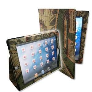 Map Design Smart PU Leather Case Cover Stand for iPad 2 / the new iPad