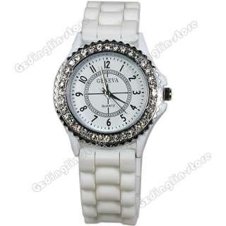 New Classic Gel Silicone Crystal Mens Womens Jelly Sport Quartz Watch