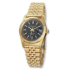 Mens Charles Hubert 14k Gold Plated Black Dial Watch