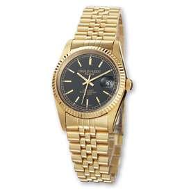 Mens Charles Hubert 14k Gold Plated Black Dial Watch