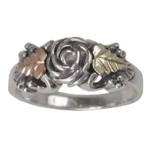 Gold & Sterling Silver Oxidized Rose Ring 12K Leaves Size 7 Jewelry