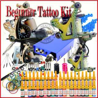 TOP Tattoo Kit Machine Guns Inks Grips Needles Power Set Equipment