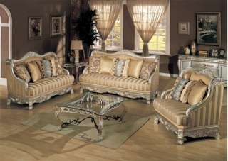 2Pc Traditional Formal opean Silver Gold Fabric Sofa Loveseat