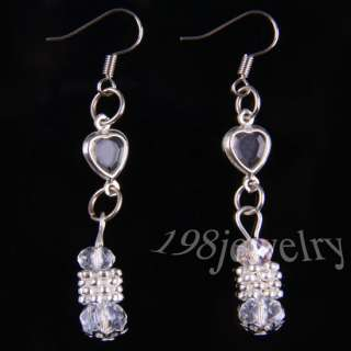 Clear Crystal Faceted Beads Necklace+ Bracelet +Earrings Series TE643