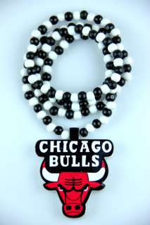 Hip Hop Fashion Good Wood Chicago Bulls Pedant Ball Bead Necklace