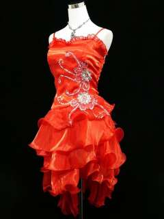 Cherlone Plus Size Satin Red Sparkle Prom Cocktail Party Evening Dress