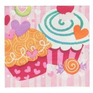 Lets Party By Unique Valentines Day Cupcake Hearts   Beverage Napkins