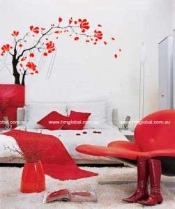 2x1.2M RED FLOWER TREE WALL ART Removable Wall Decal