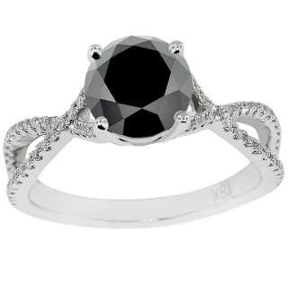 04 Carat Black Diamond Engagement Ring Vintage Style 18K White Gold