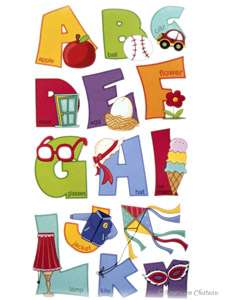 New Kids Room Letters Words Alphabet Wall Mural Sticker