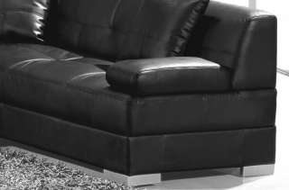 Large Contemporary Black Sectional Sofa with Chaise   Modern, L U