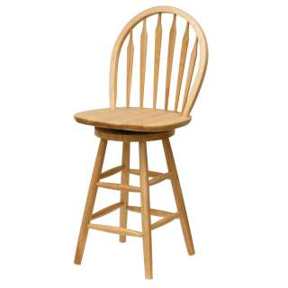 Windsor Beech Finish Solid Wood Barstool Swivel Counter Bar Stool