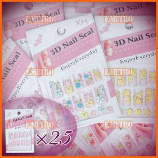 Style 3d Design Flower Stickers Sheets Decals for Nail Art Decoration