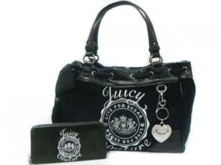 NWT JUICY COUTURE Black Velour Solid Crest Scottie Daydreamer Tote Bag